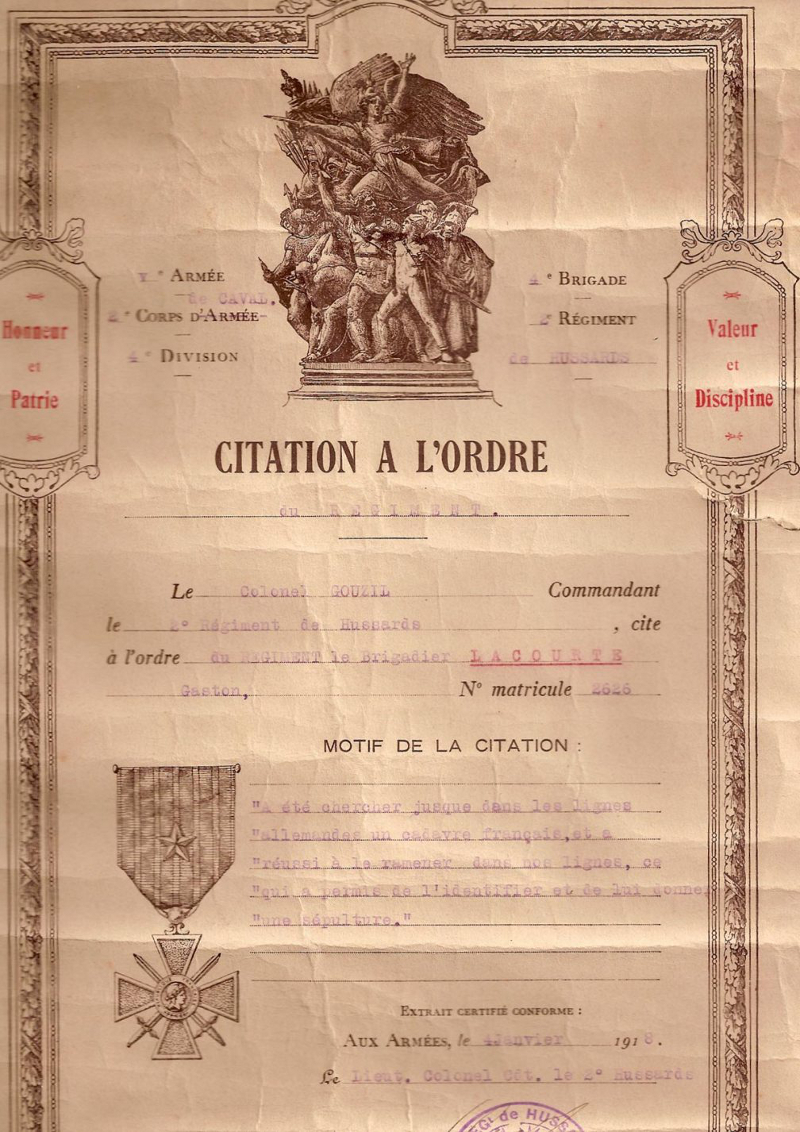 Citation à l'ordre du régiment du Brigadier Gaston Lacourte