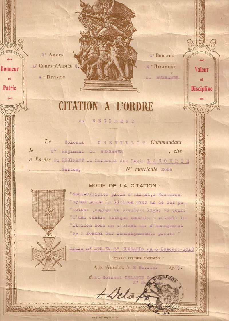 Mention citation à l'ordre du régiment du Maréchal des Logis Gaston Lacourte