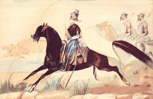 Capitaine du 2e Hussards, mars 1845 aquarelle du Capitaine Maréchal