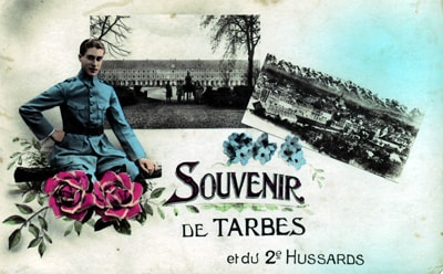 Carte postale souvenir du 2e Régiment de Hussards à Tarbes post WW1